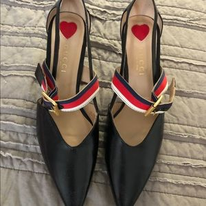 Gucci Pump all leather/bamboo heels